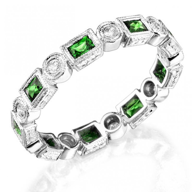 Tsavorite and Diamond Stackable Ring
