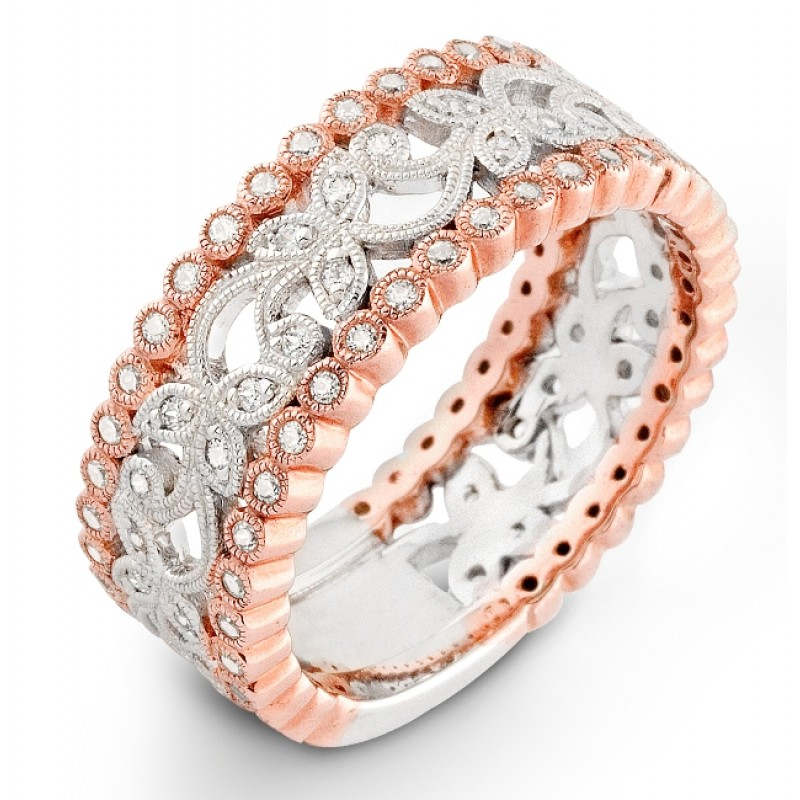 Rose & White Gold Floral Diamond Wedding Ring