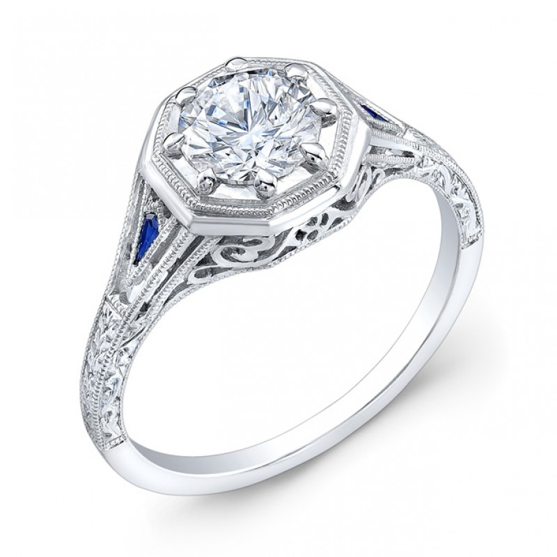 Antique Style, Engraved, Blue Sapphire Ring