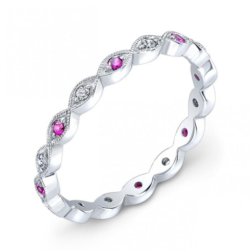 Ruby & Diamond Stackable Ring