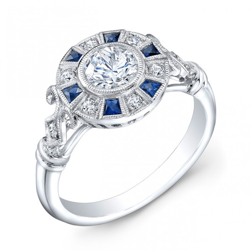 Diamond & Blue Sapphire Semi Mount