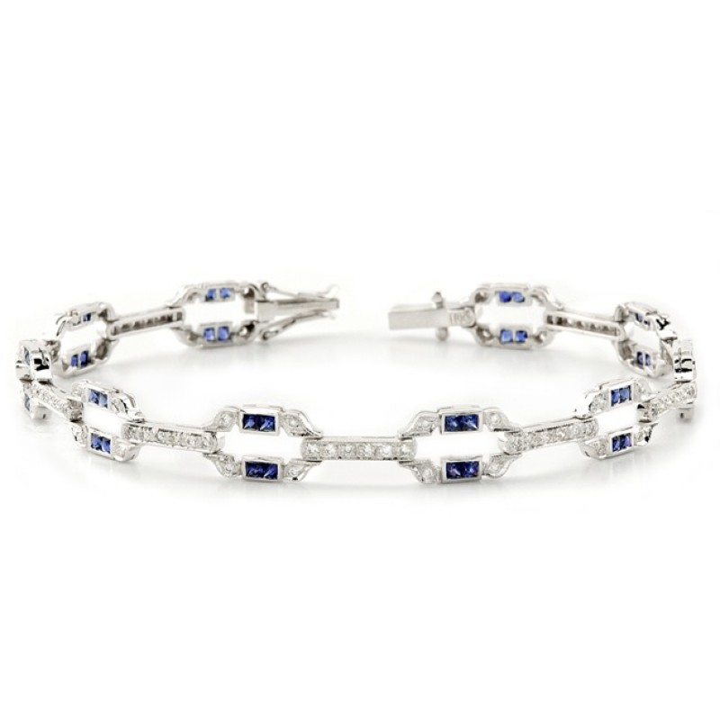 Diamond and Blue Sapphire, Art Deco Bracelet