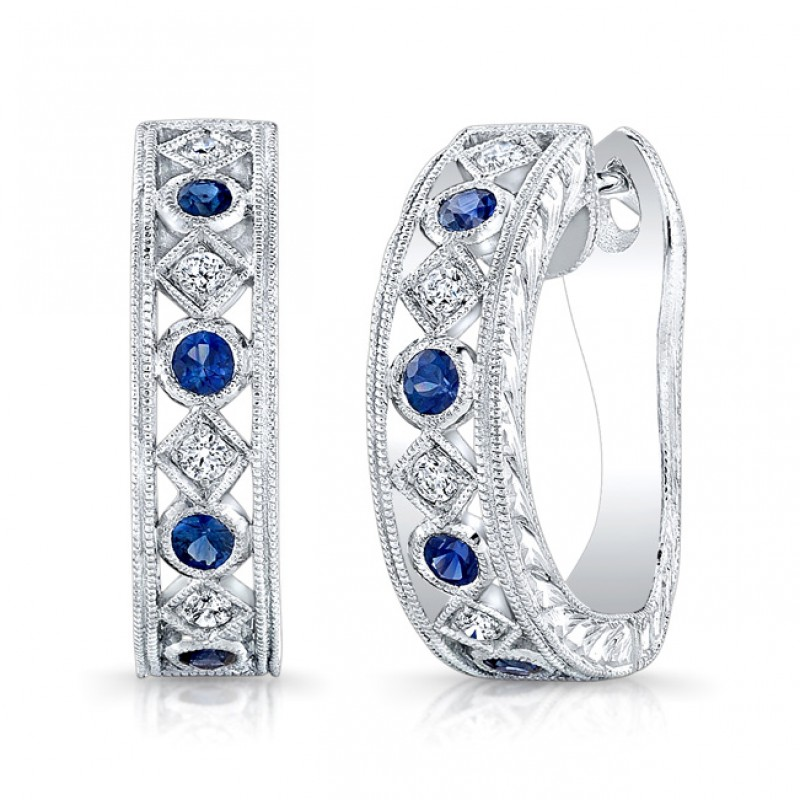 Diamond & Blue Sapphire Earring.