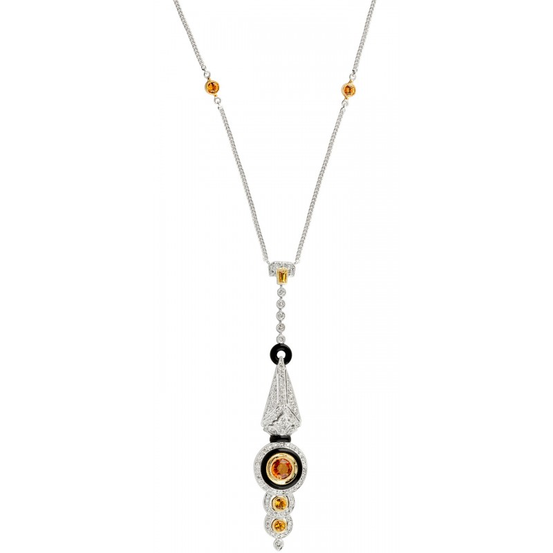 Diamond, Yellow Sapphire and Black Agate Art Deco Necklace