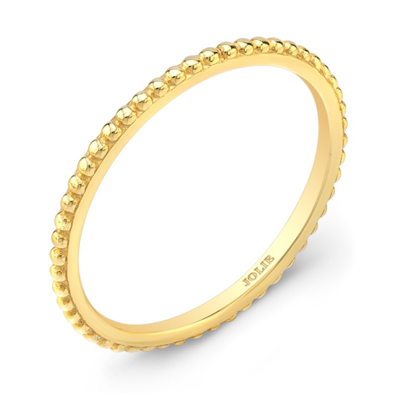 Yellow Gold Band With A Bead Pattern