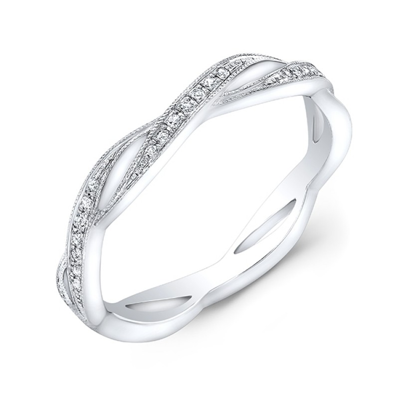 White Gold Stackable Diamond Wedding Eternity Band