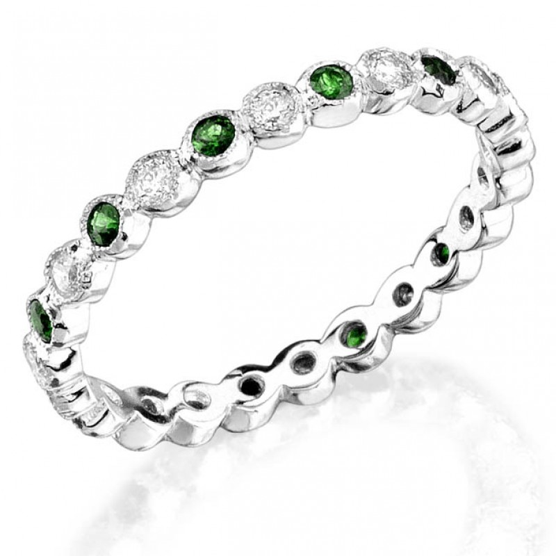 Bezel set diamond and Tsavorite stackable ring
