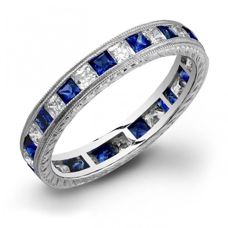 Princess Cut Blue Sapphire and Diamonds Channel Set in a Hand Engraved and Mill Grained Stackable Ring