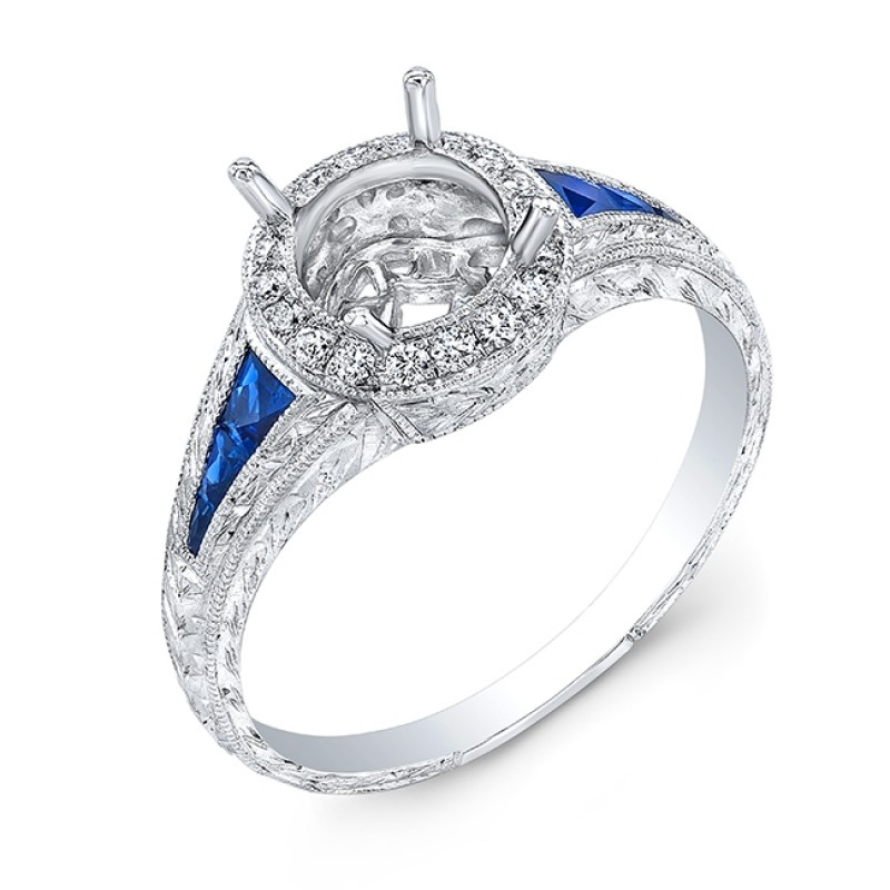 Diamond Halo & Blue Sapphire Engagement Ring