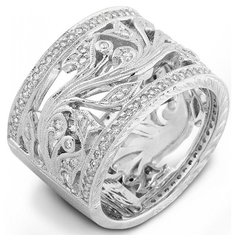 Organic Tulip and Vine Diamond Ring