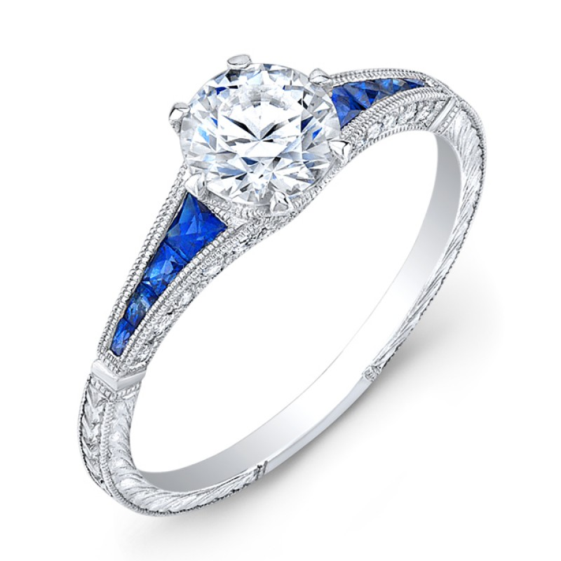 Delicate Hand Crafted Diamond & Blue Sapphire Semi Mount
