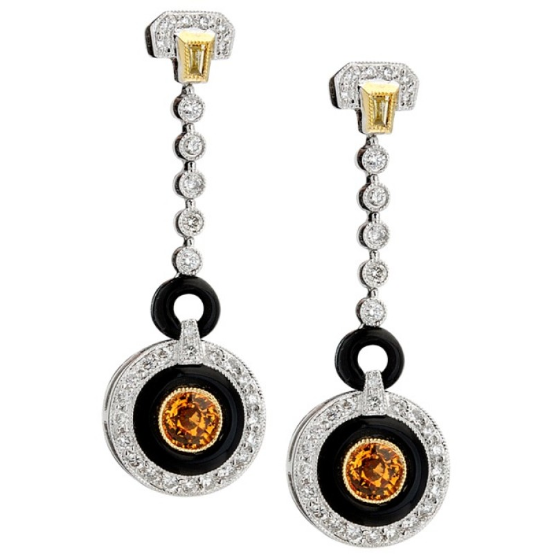Diamond and Yellow Sapphire Art Deco Earrings With Onyx Accents