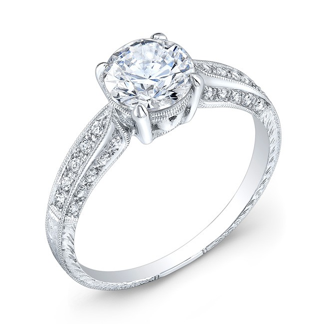Diamond Engagement Ring, Hand Engraved With Fine Millgrained Enging