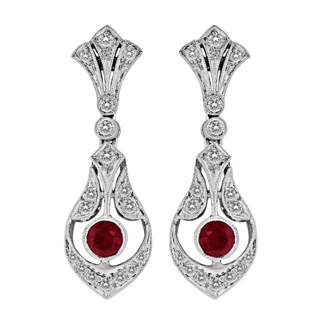 Diamond and Ruby Filigree Earring