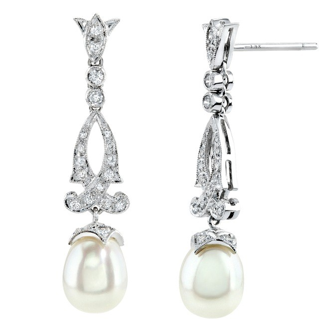 Diamond and pearl Filigree Earring