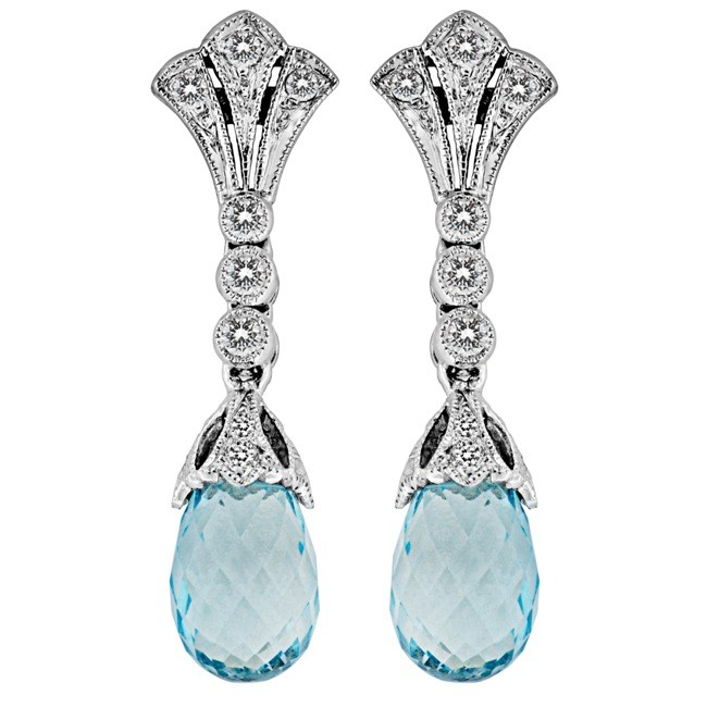 Diamond and Aquamarine Filigree Earring