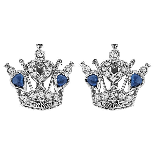 Diamond and Blue Sapphire Crown Earring