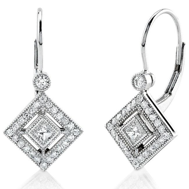 Princess Cut and Round Diamond Earring