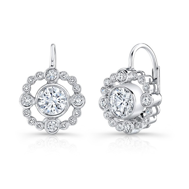 Bezel Set, Diamond,, Lever Back Earring. (Sold As Semi Mount)