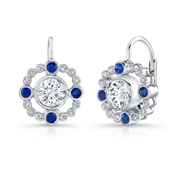 Diamond, & Blue Sapphire Lever Back Earring. (Semi Mount)
