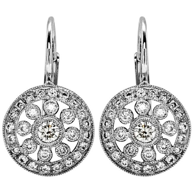 Round Diamond Lever Back Earring