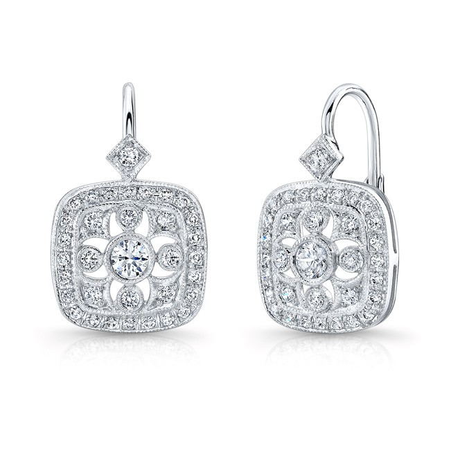 Mill Grained, Diamond,, Lever Back Earring