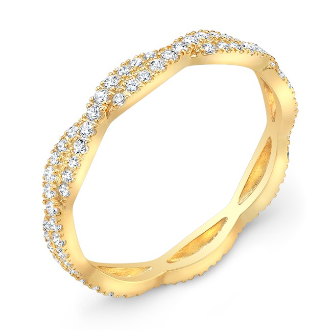 Yellow Gold Stackable Diamond Wedding Ring