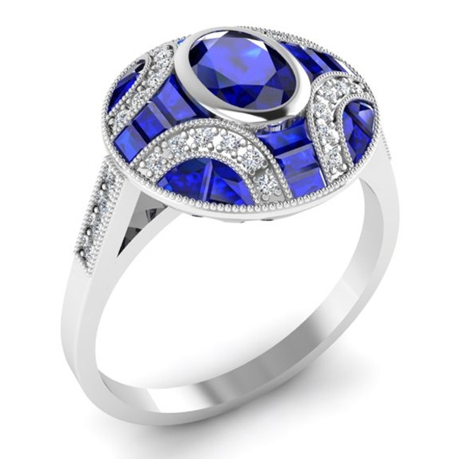 Antique Inspired Diamond & Blue Sapphire Ring