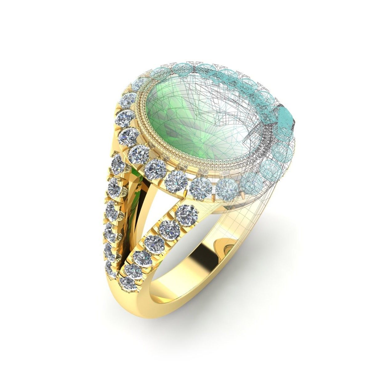 Custom Designed Tsavorite 18K Gold Ring