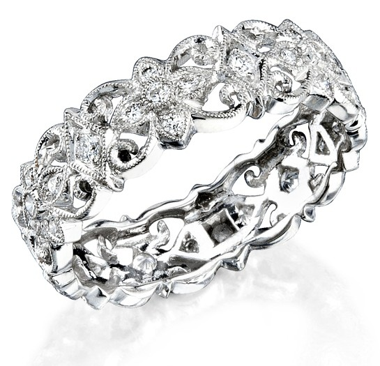 Eloquently Mill Grained Diamond Stackable Ring