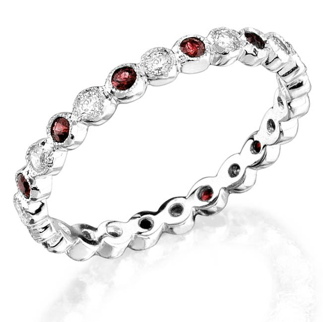 Bezel set diamond and ruby stackable ring