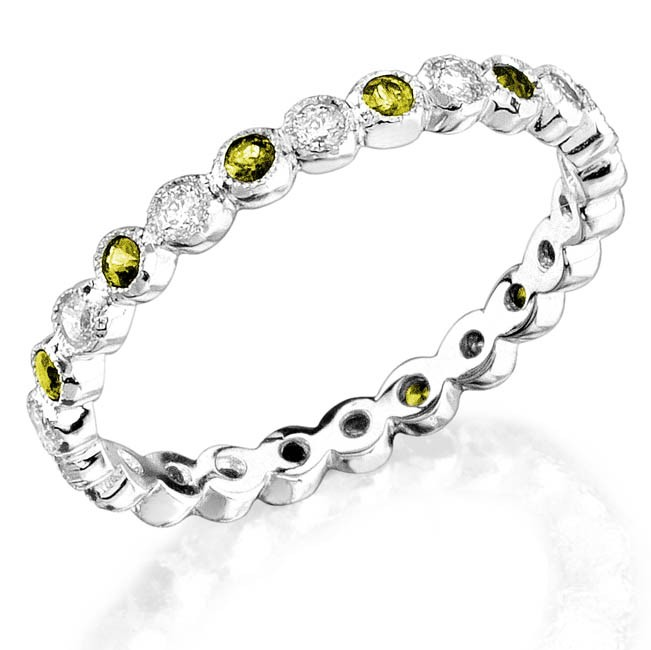 Bezel set diamond and yellow sapphire stackable ring