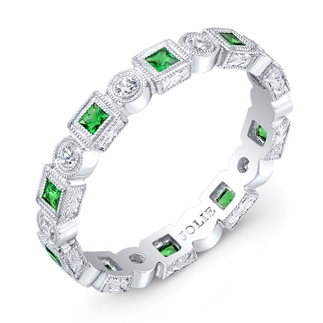 Engraved, Tsavorite & Diamond Ring