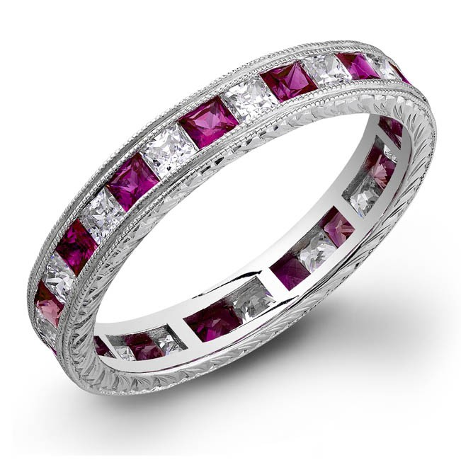 Princess Cut Pink Sapphire and Diamonds Channel Set in a Hand Engraved and Mill Grained Stackable Ring