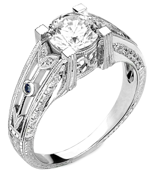 Diamond Engagement Ring With  Blue Sapphire Accents, Semi Mount