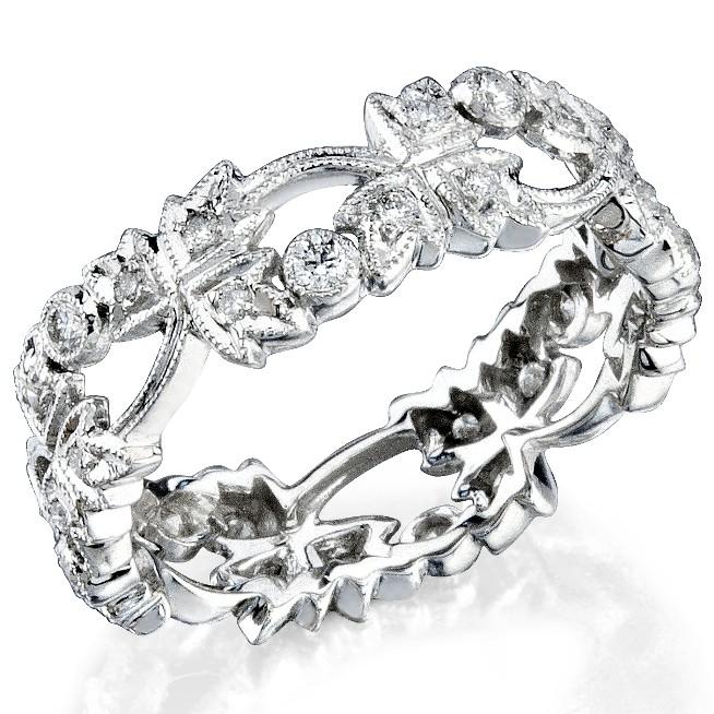 Leaf Diamond Stakable Wedding Ring