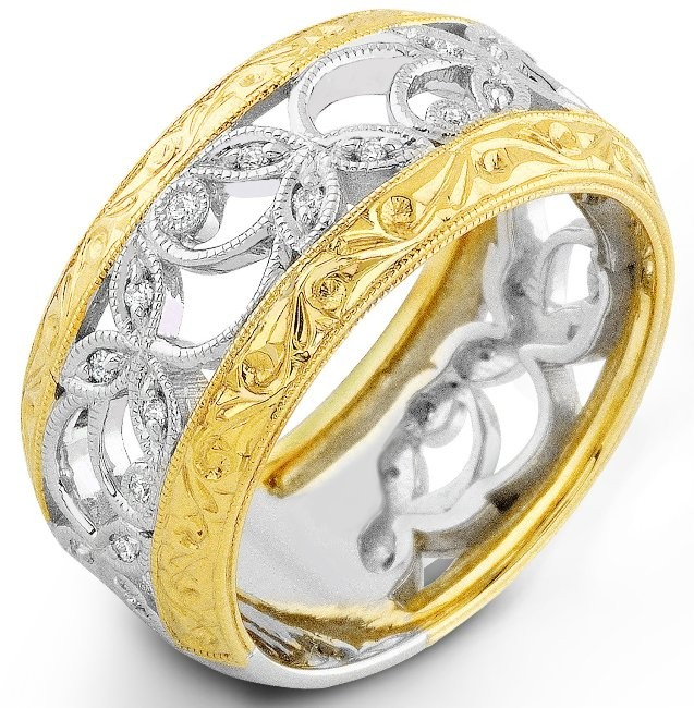 Two Tone Diamond Vine Ring