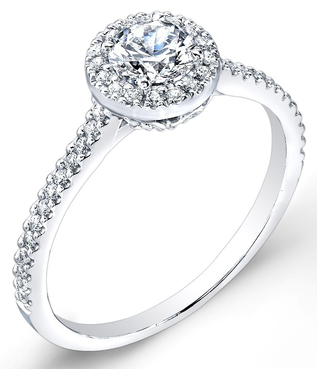Petite Classic Halo, Pave' Set Diamond Engagement Ring