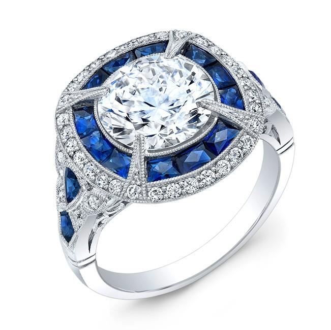 Art Deco Blue Sapphire and Diamond Ring
