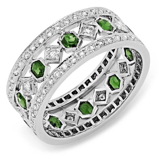 Diamond and Tsavorite Ring