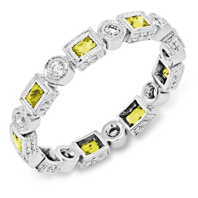 Bezel Set Princess Cut Yellow Sapphire and Round Diamond Ring