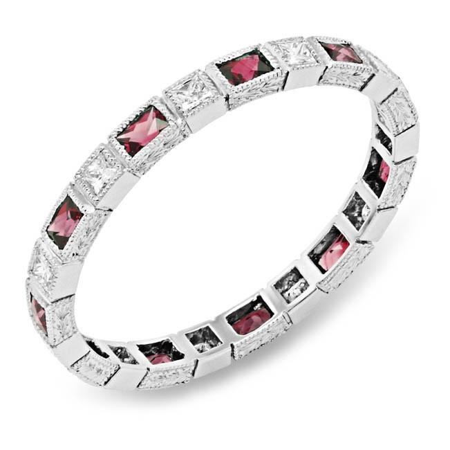 Bezel Set Baguette Rubies and Princess Cut Diamond Stackable Ring