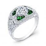 Antique Inspired Diamond & Tsavorite Engagement Ring