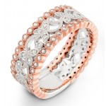 Rose & White Gold Floral Diamond Wedding Ring