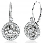 Round Diamond Lever Back Earring