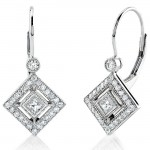 Princess Cut and Round Diamond Earring