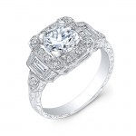 Gordon Clark Antique Inspired Diamond Halo Ring with Mill Grain and Hand Engraving