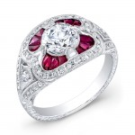 Antique Inspired Diamond & Ruby Engagement Ring