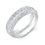 White Gold Hand Engraved Angled Band Set