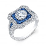 Hand Crafted Diamond & Blue Sapphire ring